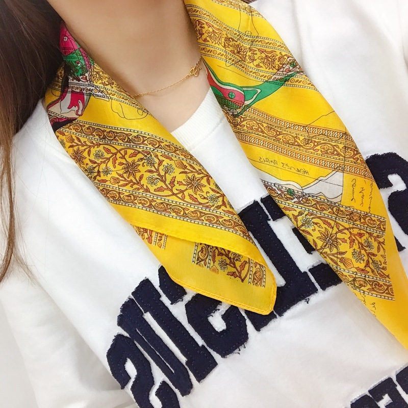 Fashion Silk   Scarf   For Ladies Letter Yellow Print Hijab Silk Shawl Brand   Scarf   Square Head   Scarves     Wraps   For Women 53*53cm