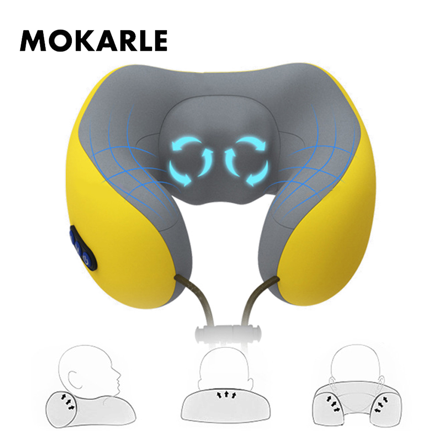 лучшая цена Electric neck massager cervical vertebra care vibration neck relax cushion acupuncture therapy relief fatigue U-shaped pillow