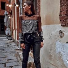 Women Mesh Patchwork Shirts Sequin Blouse Summer Fashion Ladies