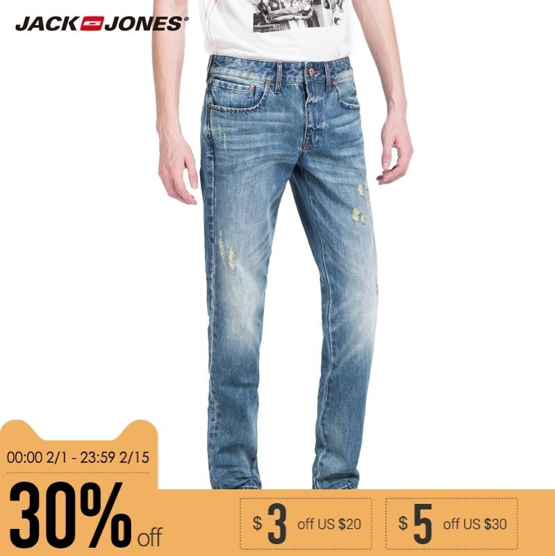JACK & JONES Marca 2018 NUEVO más joven de mediana cintura recta casual de longitud completa con cremallera mosca agujero apenado hombres jeans | 215132012