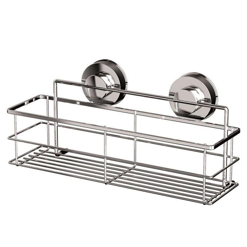 STAINLESS STEEL NON RUST BATHROOM SHOWER SHELF STORAGE SUCTION BASKET CADDY|Storage Shelves & Racks| |  - title=