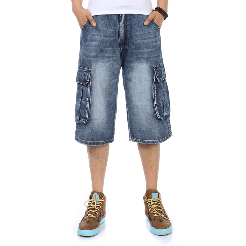 Image 5 - Mens Plus Size Loose Baggy Denim Short Men Jeans Fashion Streetwear Hip Hop Long 3/4 Capri Cargo Shorts Pocket Bermuda Male Blue-in Casual Shorts from Men's Clothing