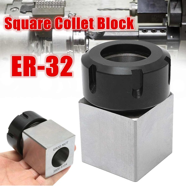 ER 32 Square Collet Block Chuck Holder 3900 5124 for CNC Lathe Engraving Machine