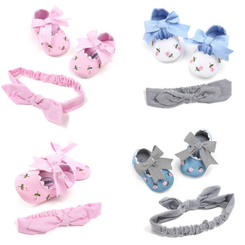 0-18M Non-slip Toddler Kids Baby Shoes Headband Girls Soft Sole Cotton Crib  First Walkers Flat Cute Casual Popular Comfortable