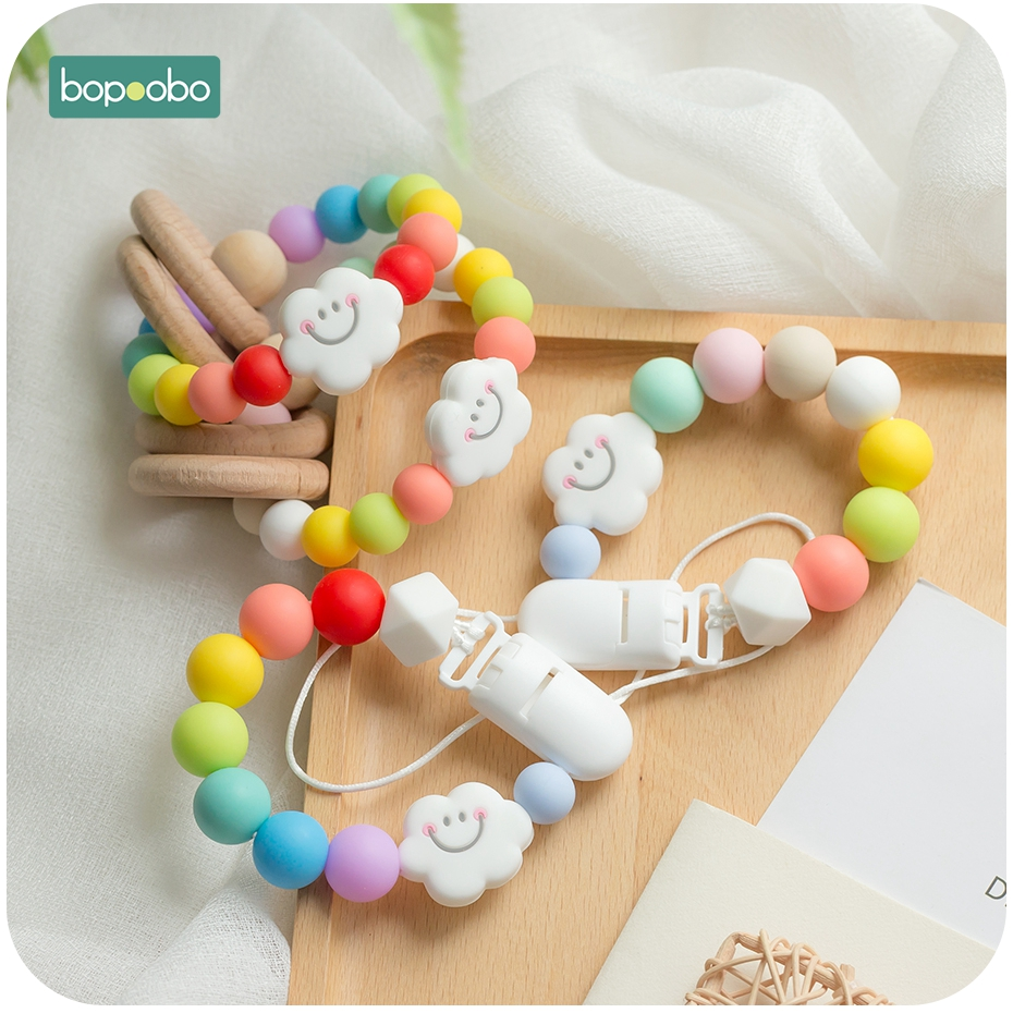 Bopoobo 1pc Musical Silicone Baby Rainbow Rattle 15mm BPA Free Silicone Beads Holder For Nipples Silicone Rodent Baby Teether