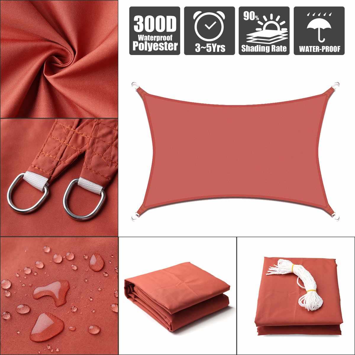 2.5x2.5 3x3 4x4 2x3 2x4 Rust Red Rectangle Square 300D 160GSM Polyester Oxford Fabric Shade Sail Sun2.5x2.5 3x3 4x4 2x3 2x4 Rust Red Rectangle Square 300D 160GSM Polyester Oxford Fabric Shade Sail Sun