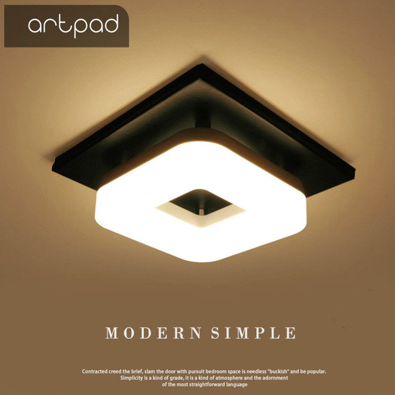 Artpad American 12w Surface Mounted Square Led Ceiling Lights for Hallway Light Porch light Balcony Walkway Ceiling Light China-in Ceiling Lights from Lights & Lighting