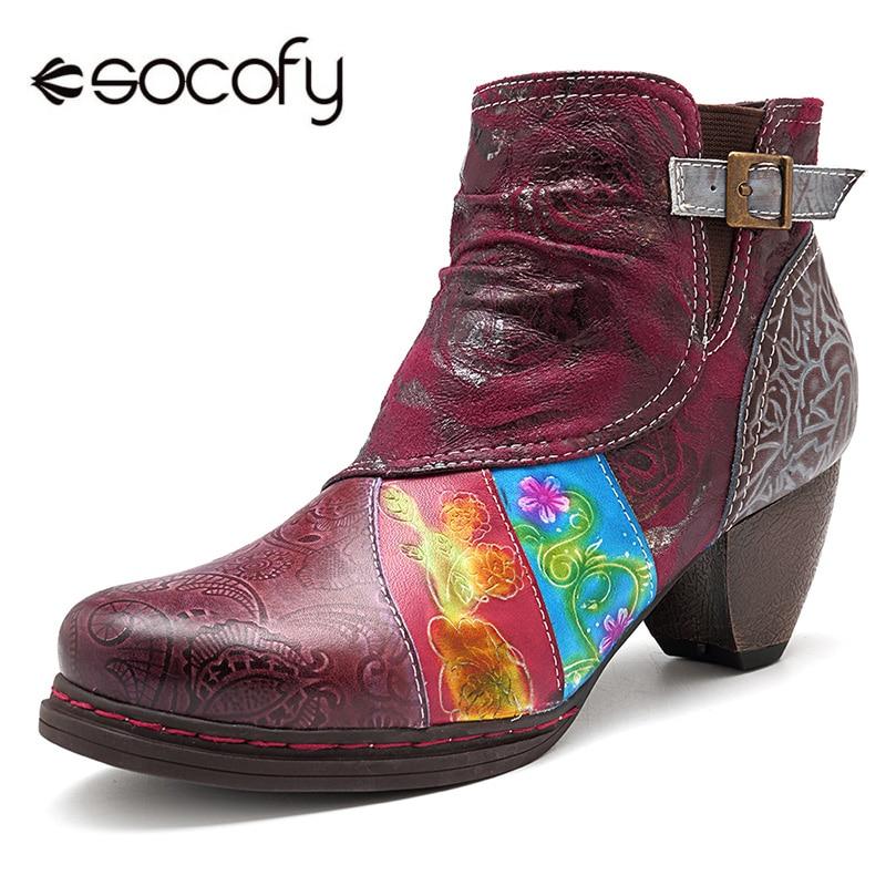 Socofy جلد طبيعي النساء الأحذية الرجعية راعية البقر الربط حذاء من الجلد للنساء أحذية امرأة عارضة سستة البوهيمي الجوارب جديد-في أحذية نسائية من أحذية على  مجموعة 1