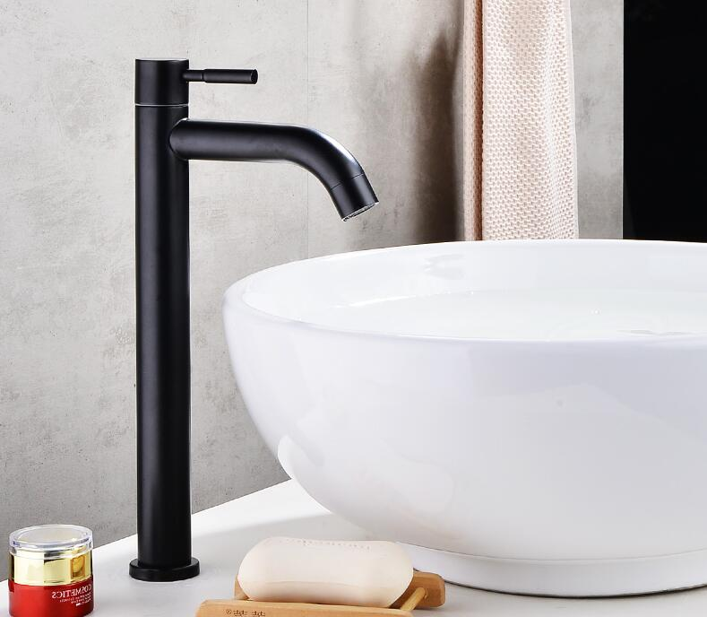 Black 304 stainless steel material single cold bathroom sink faucet handle basin faucetBlack 304 stainless steel material single cold bathroom sink faucet handle basin faucet