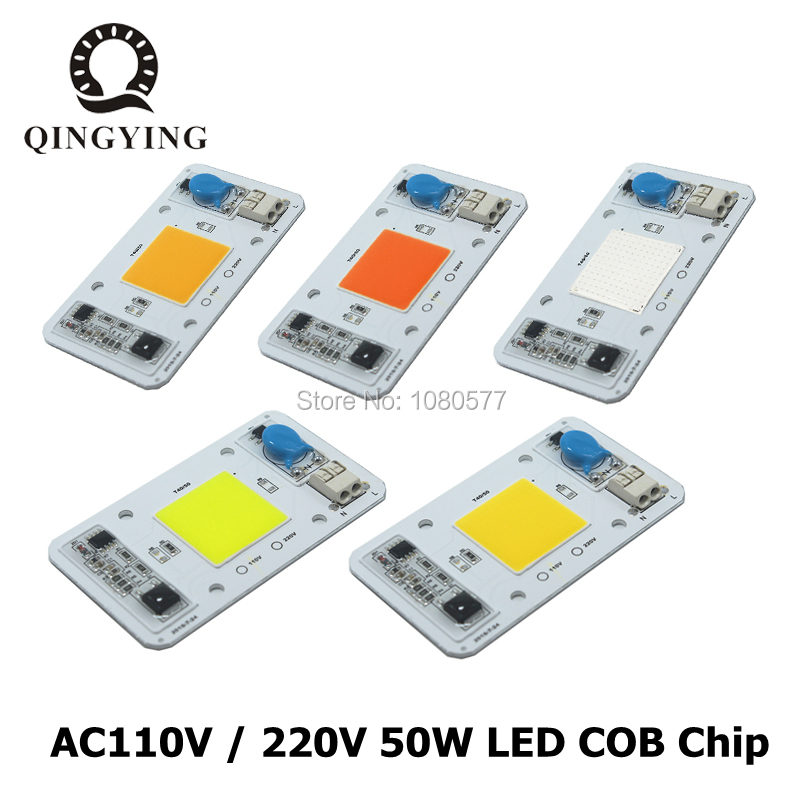 LED 50W COB Chip Bulbs AC 110V 220V Integrated Smart IC Driver Cool White Warm White Red Green Blue Yellow Pink Full Spectrum