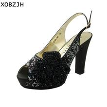 XOBZJH 2019 New Platform Pumps High Heels Women Buckle Luxury Wedding Party  Peep Toe Fashion Sexy b739b9663d5a