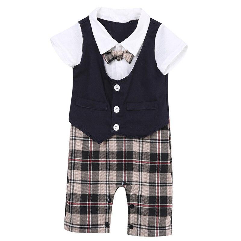 Newborn Toddler Kid Baby Boy Gentleman Bodysuit Cotton Clothes 2018 New Arrival Jumpsuit Outfits Set 0-3Y