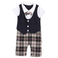 цены на Newborn Toddler Kid Baby Boy Gentleman Bodysuit Newborn Baby Cotton Clothes 2018 New Arrival Jumpsuit Outfits Clothes Set 0-3Y  в интернет-магазинах
