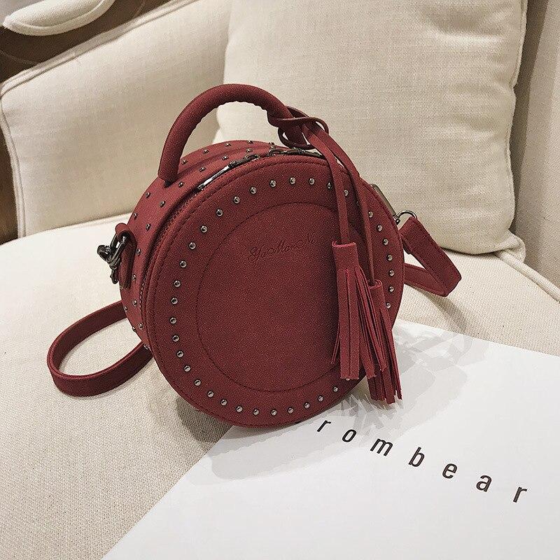 2018 Circular Fashion Women Shoulder Bag Leather S Crossbody Messenger Bags Las Purse Female Round Handbag