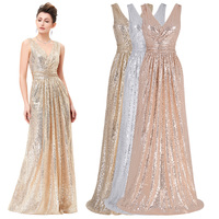 Kate Kasin Women V Neck Sequin Long Maxi Dress Sleeveless Maxi Evening Party Dresses for Wedding
