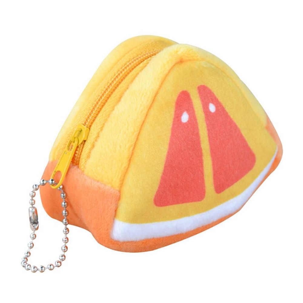 SFG HOUSE, Женский кошелек для монет для девочек, милый плюшевый кошелек для мелочи на молнии с фруктами, Карманный Кошелек для девочек