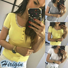 Summer Women T-Shirts 2019 New Womens Lace Short Sleeve O-Neck Casual T-Shirt Solid Slim