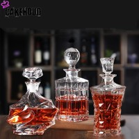 CAKEHOUD Cocktail Whiskey Bottle Pot Crystal Glass Red Wine Bottle Wine Decanter With Bottle Cap Bar Tool Home Bar Vodka Jug