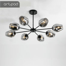 Artpad Moderne Kronleuchter Beleuchtung Wohnzimmer Lichter Glas Lampenschirm LED Golden Schwarz Vintage Anhänger Lampe Esszimmer Küche
