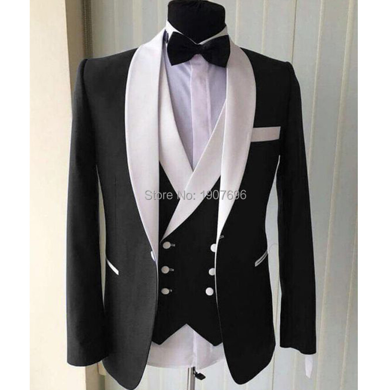 Black Wedding Men Suits for Groom Tuxedos White Shawl Lapel Three Piece Jacket Waistcoat Pants Double Breasted Vest Custom in Suits from Men 39 s Clothing