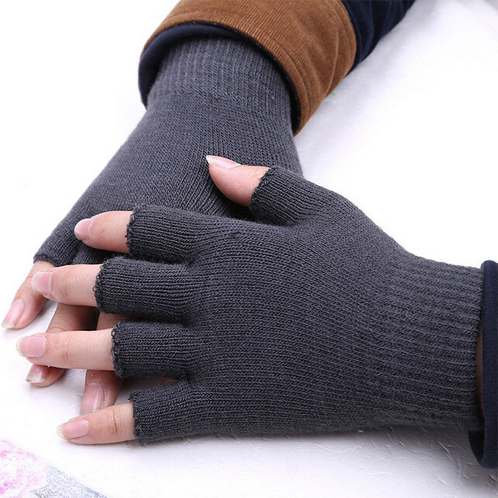 Women Men's Warm Knitted Half Finger Fingerless Golves Autumn Winter Unisex Solid Fashion Wrist Mittens Black Gray Guantes Mujer