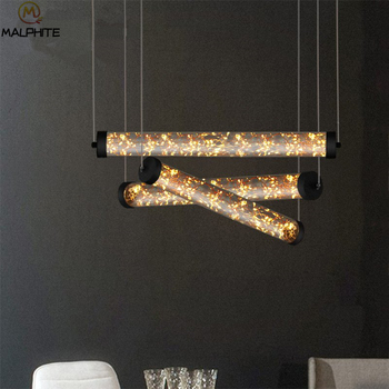 Modern Glass LED Pendant Lights Pipe Fireflies Pendant Lamps Bar Cafe Hanging Lamps Decor Living Room Luminaire Kitchen Fixtures