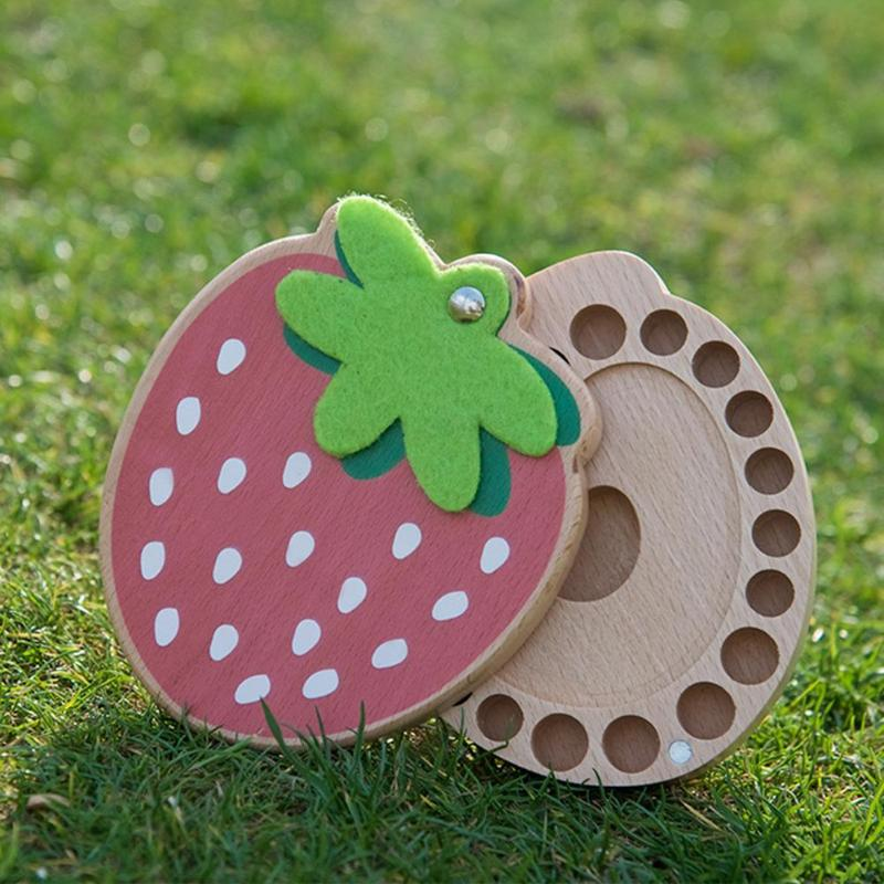 Strawberry Box Souvenir Tooth Collection Deciduous Tooth Box Child Baby Hair Deciduous Box Wooden Baby Deciduous Tooth Box