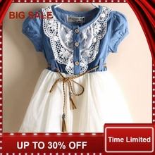 Girls Baby Lace Belt Tutu Denim Jeans Dress Princess Kids 1-6Y US Ship цена