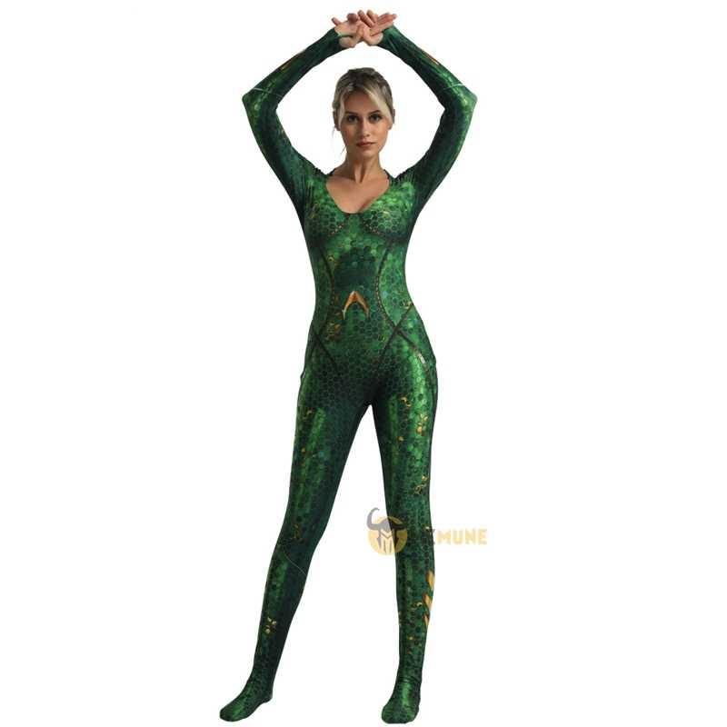 Adulto Superhero Anfitrite Mera Mar-rainha do Aquaman Zentai Terno Trajes Cosplay Dia Das Bruxas