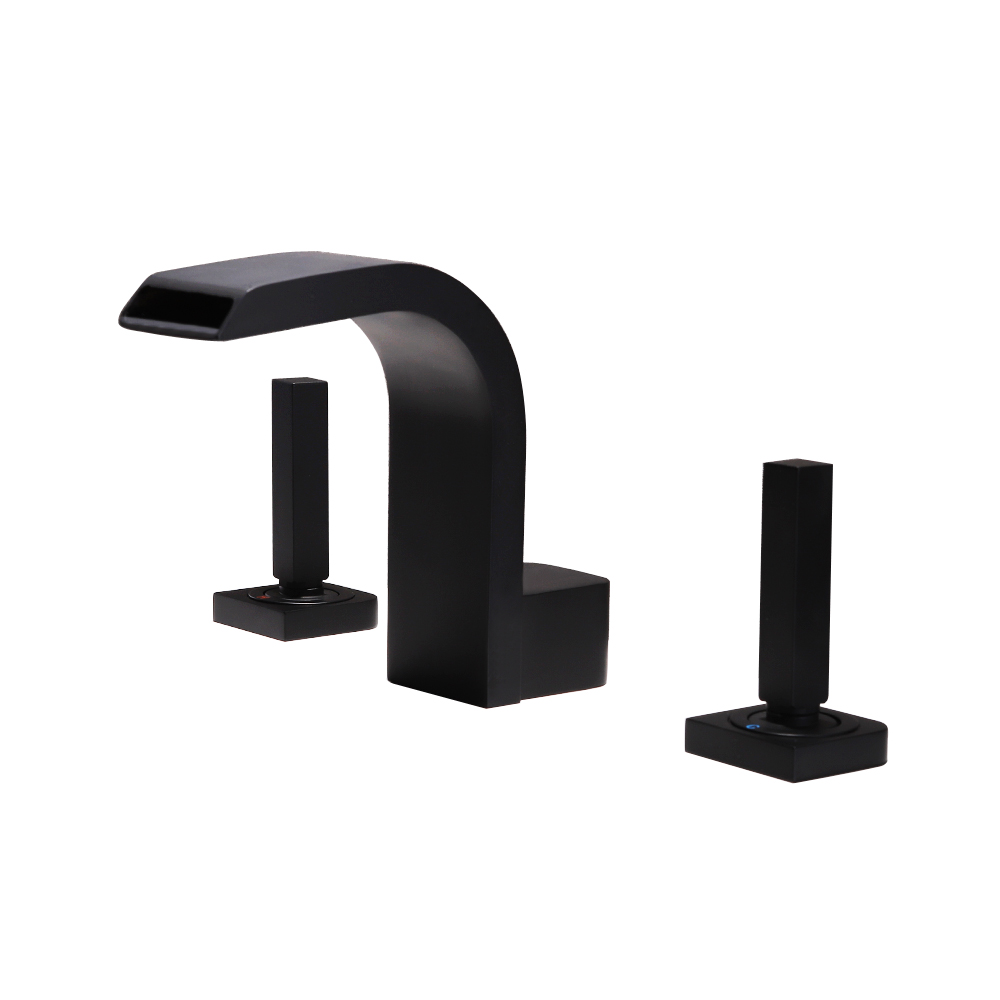 SKOWLL Deck Mount Dual Handle Waterfall Faucet 3 Holes Hot and Cold Mixer Taps in Basin Faucets from Home Improvement