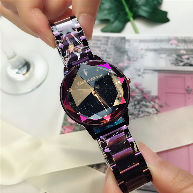 Bracelet Watch Clock Gift Dail Crystal Gold Water-Diamond Luxury Polygon Sky Star Steel-Belt