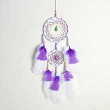 Ostrich feather dream catcher white purple two ring pendant car girl heart series home decoration