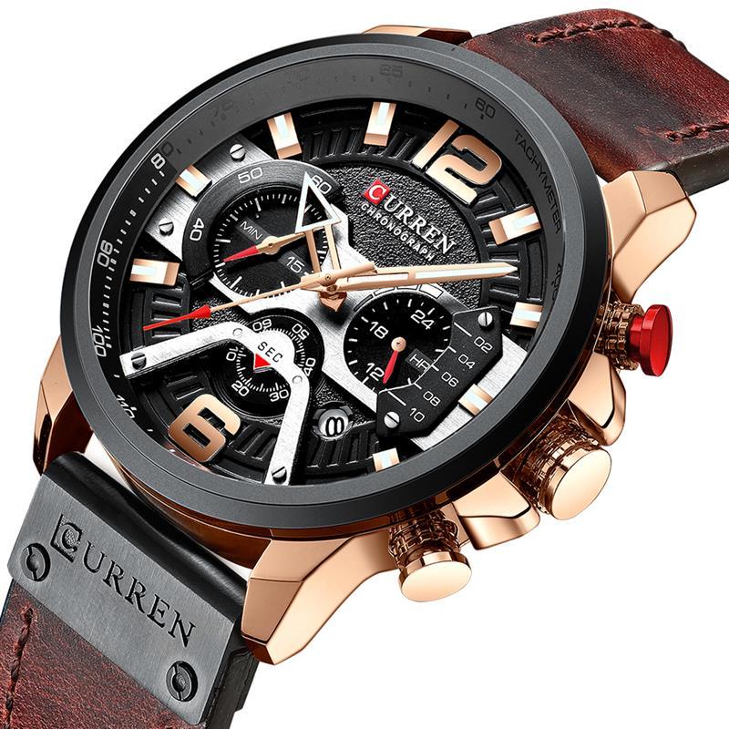 CURREN Luxury Brand Watch Men Military Sport Watches Men's Quartz Clock Leather Strap Waterproof Date Wristwatch Reloj Hombre|Quartz Watches| |  - title=