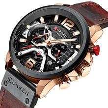 CURREN Luxury Brand Watch Men Military Sport Watches Men's Quartz Clock Leather Strap Waterproof Date Wristwatch Reloj Hombre dom men watches luxury brand waterproof quartz clock leather strap business golden watch male dress wristwatch mens reloj hombre