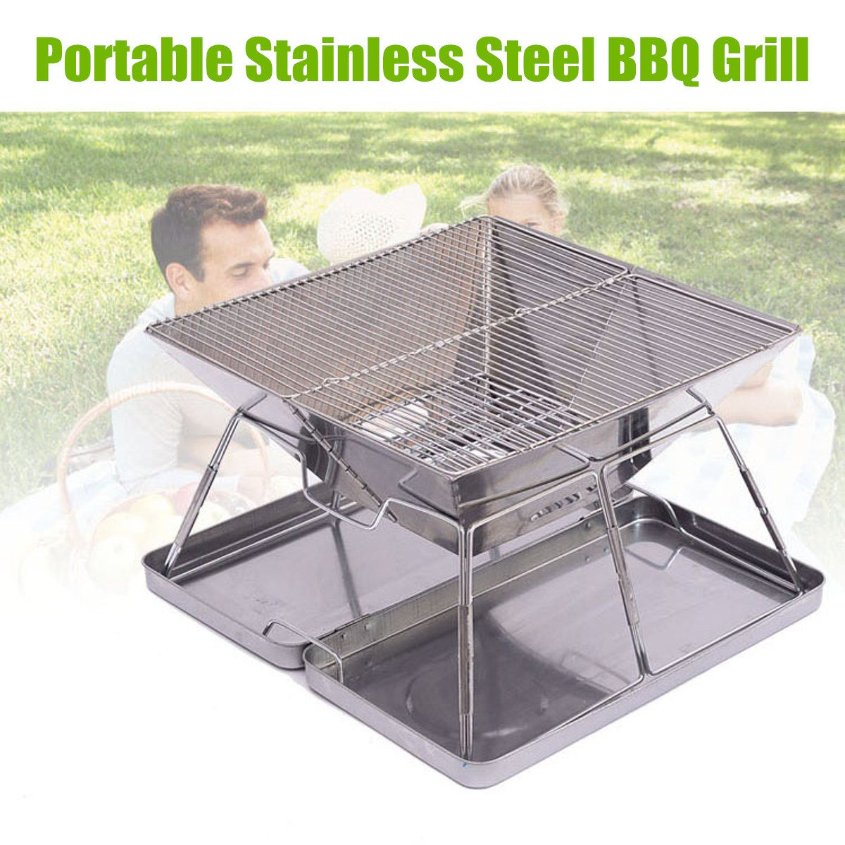 Stainless Steel Outdoor Charcoal BBQ Grill Rack Folding BBQ Barbecue Accessories Portable Home Kitchen Camping Cooking ToolsStainless Steel Outdoor Charcoal BBQ Grill Rack Folding BBQ Barbecue Accessories Portable Home Kitchen Camping Cooking Tools