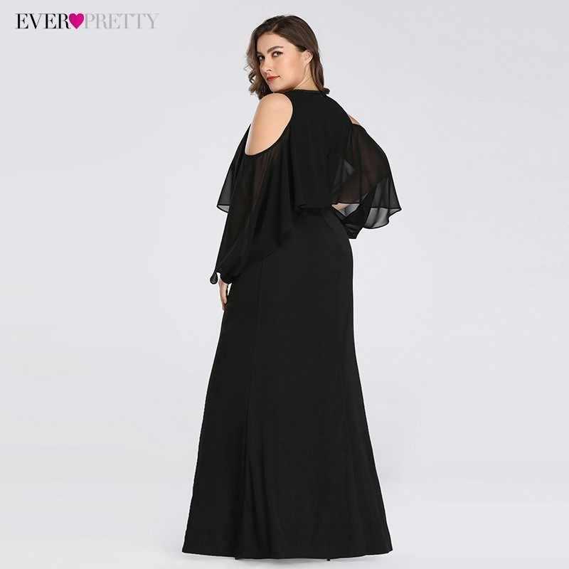 Plus size vestidos de noite elegantes sempre bonito ez07748 com decote em v preto pequena sereia sexy vestido de festa 2019 robe de soiree