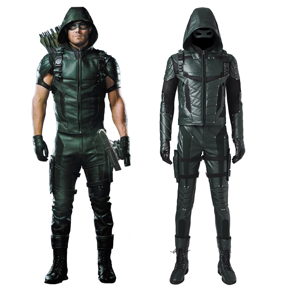 The Green Arrow Season 5 Oliver Queen Cosplay Costume Jacket Suit Men's Halloween Leather Outfit