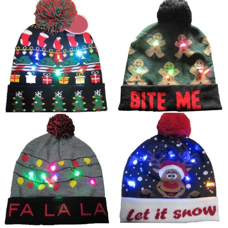 LED Light Knitted Christmas Hat Beanies Colorful Dazzling Lights Knitted Hat Snowman Pattern Plush Ball Hat With LED Light