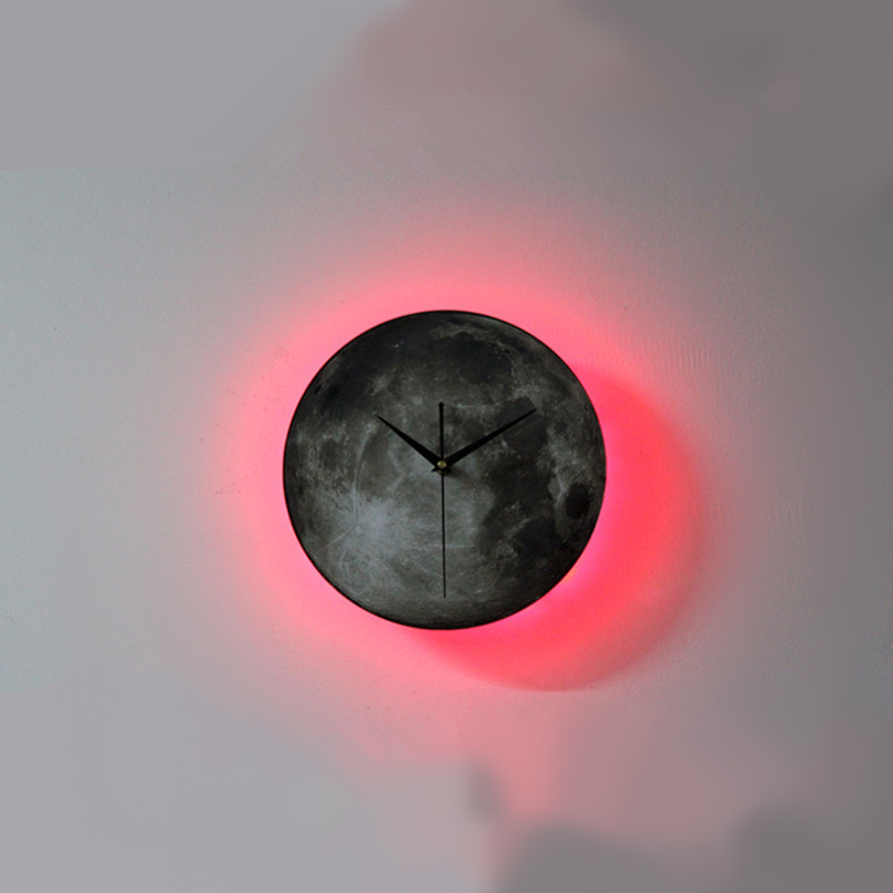 New 3D Wall Clock LED Moon Night Light Wall Clock Remote Control Technology Wall Clock For Home Mute Wall Watch Dropshipping in Wall Clocks from Home Garden