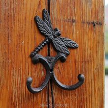 Rustic Dragonfly Cast Iron Wall Hook Double Hooks Wall Mount Towel Hanger Hook for Hat, Key, Coats, Jackets and More цена и фото