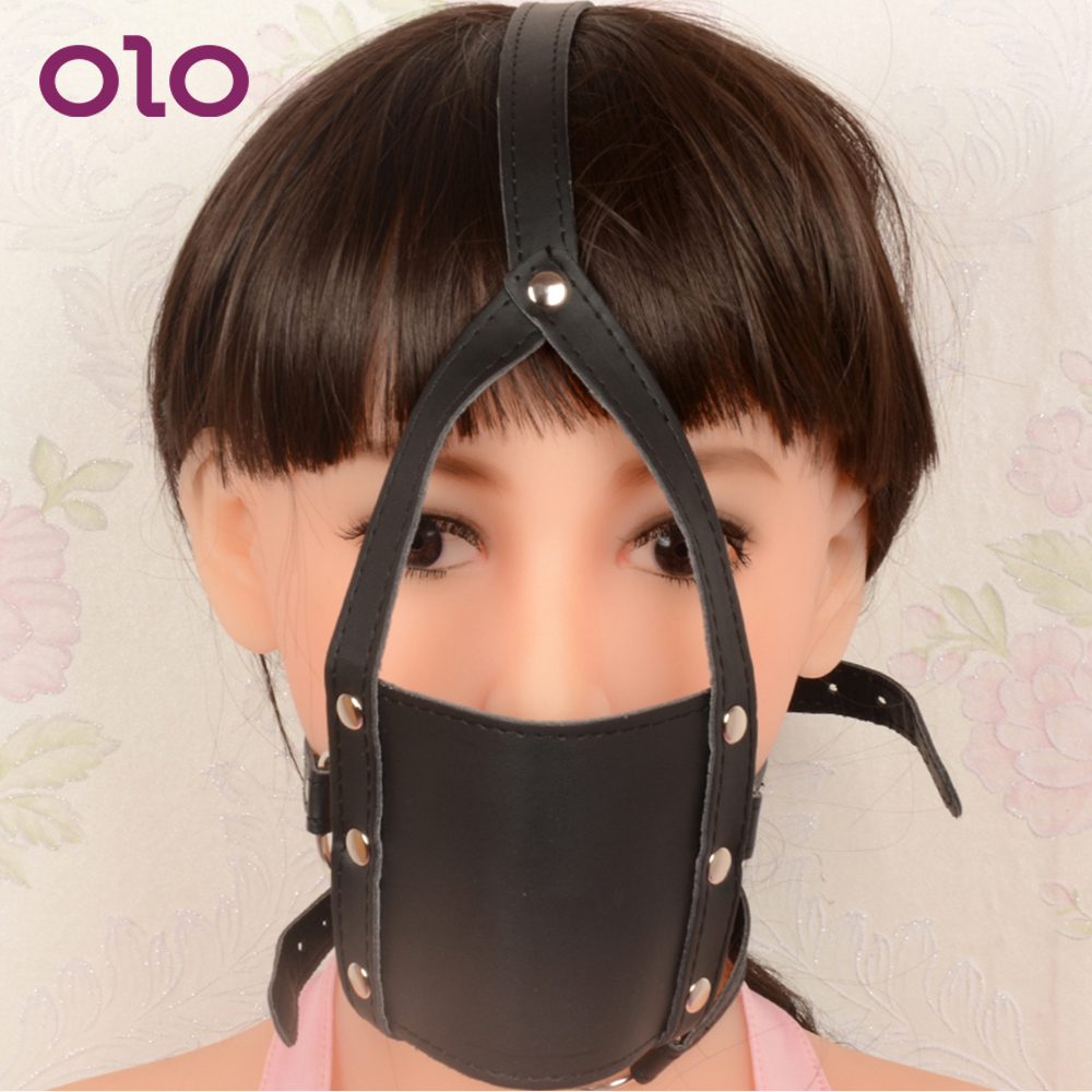 OLO Mask Open Mouth Gags Bondage Restraints Fetish Slave Leather Head Harness Black Erotic Toys Adult Game Sex Toys For Couple