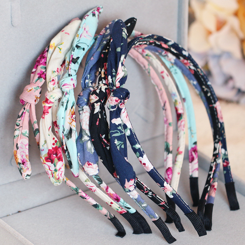 Fashion Bow-knot Cute Floral Headband For Girls Women Print Flower Kids Rabbit Ear Print Child Crown Hairbands Hair Accessories