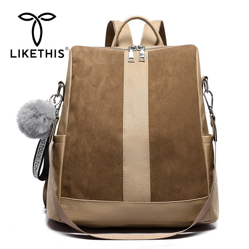 LIKETHIS Leather Backpack Women PU Shoulder Bag For Woman 2019 Large Capacity Solid Oxford Cloth Zipper Mochilas Feminina Zaino