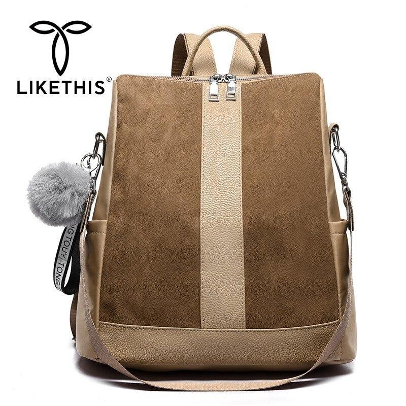 LIKETHIS Leather Backpack Women PU Shoulder Bag For Woman 2019 Large Capacity Solid Oxford Cloth Zipper Mochilas Feminina Zaino