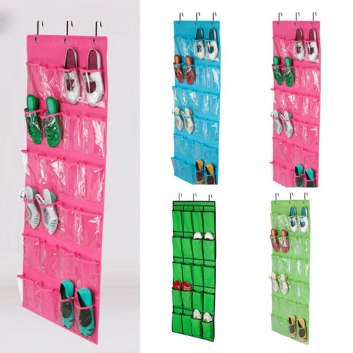 24 Pocket Shoe Space Door Hanging Organizer Rack Wall Bag Storage Closet Holder 2