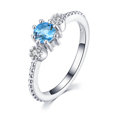 New Alloy Gold Engagement Wedding Rings for Women Silver Trend Sea Blue Semi Precious Stone Jewelry Anelli Donna