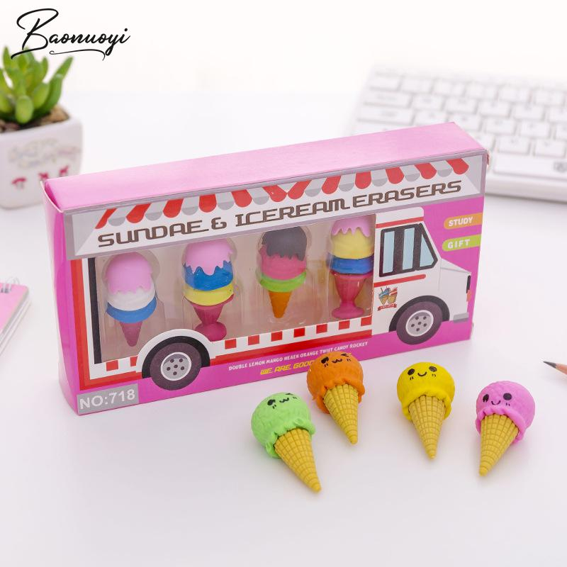 4In1 Ice Cream Shape Eraser Rubber Cute Eraser Primary School Student For Girls And Boys Promotional Gift Stationery Bts Tools