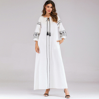 2019 White Embroidery Beading Cardigan Adult Abaya For Women Robe Muslim Dress Women Turkish African Women Clothes