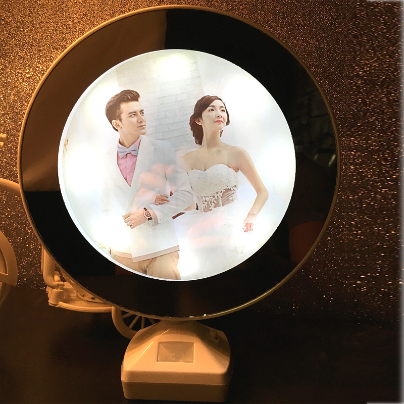 Creative 7 Inch Multi Function Led Light Photo Frame With Mirror Wedding Picture Holder Art Home Decor