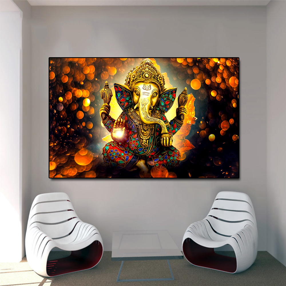 Buddha Poster Vinayaka Ganapati Lord Ganesha Statue Wall Art Canvas Picture for Living Room Home Decor Golden Elephant No Frame huawei mate x dobravel